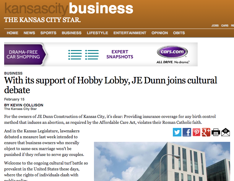 With its support of Hobby Lobby, JE Dunn joins cultural debate